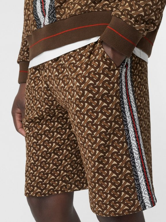 Monogram Stripe Print Cotton Drawcord Shorts in Bridle Brown - Men | Burberry - cell image 1