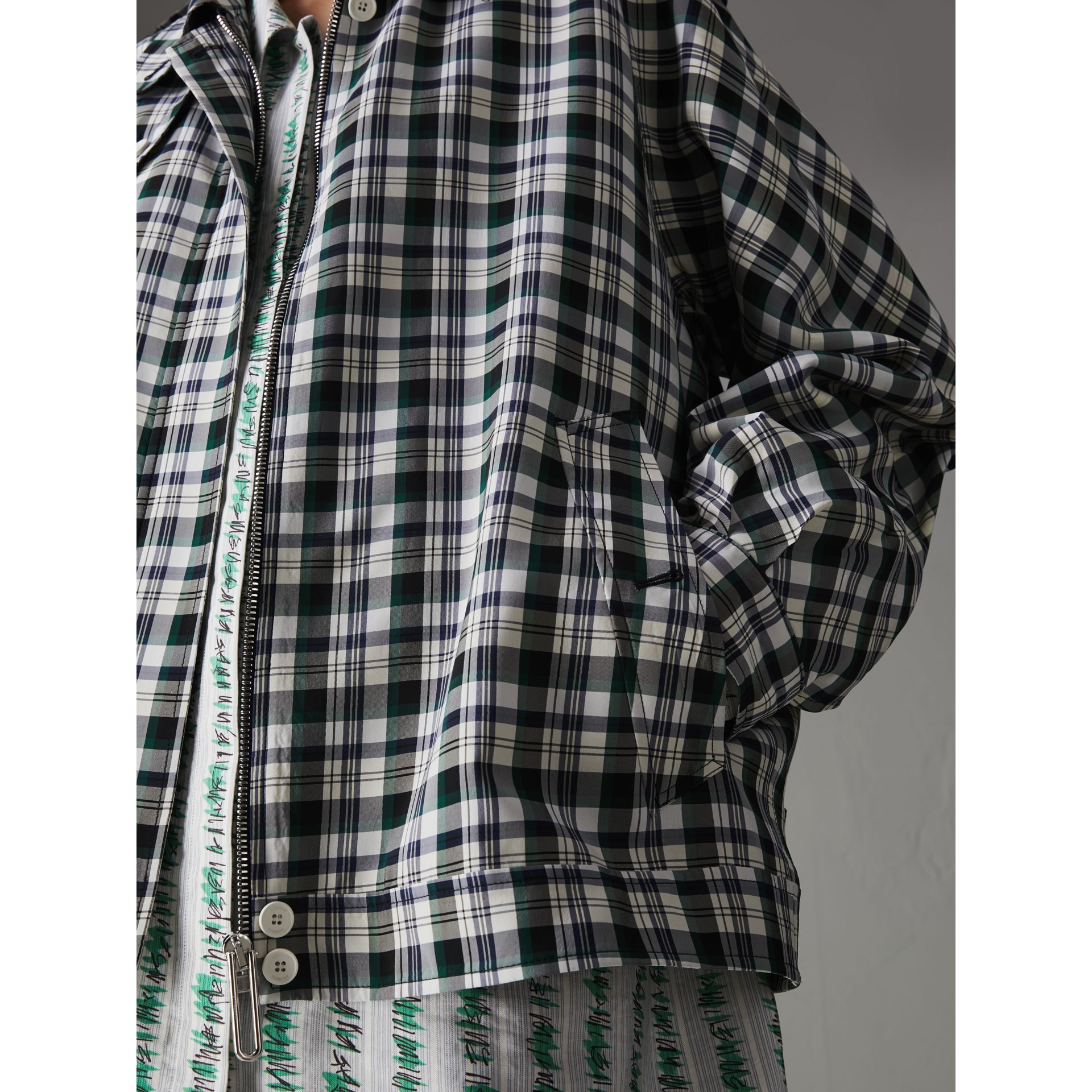 Check Oversized Harrington Jacket in Dark Forest Green - Women | Burberry Australia - gallery image 1