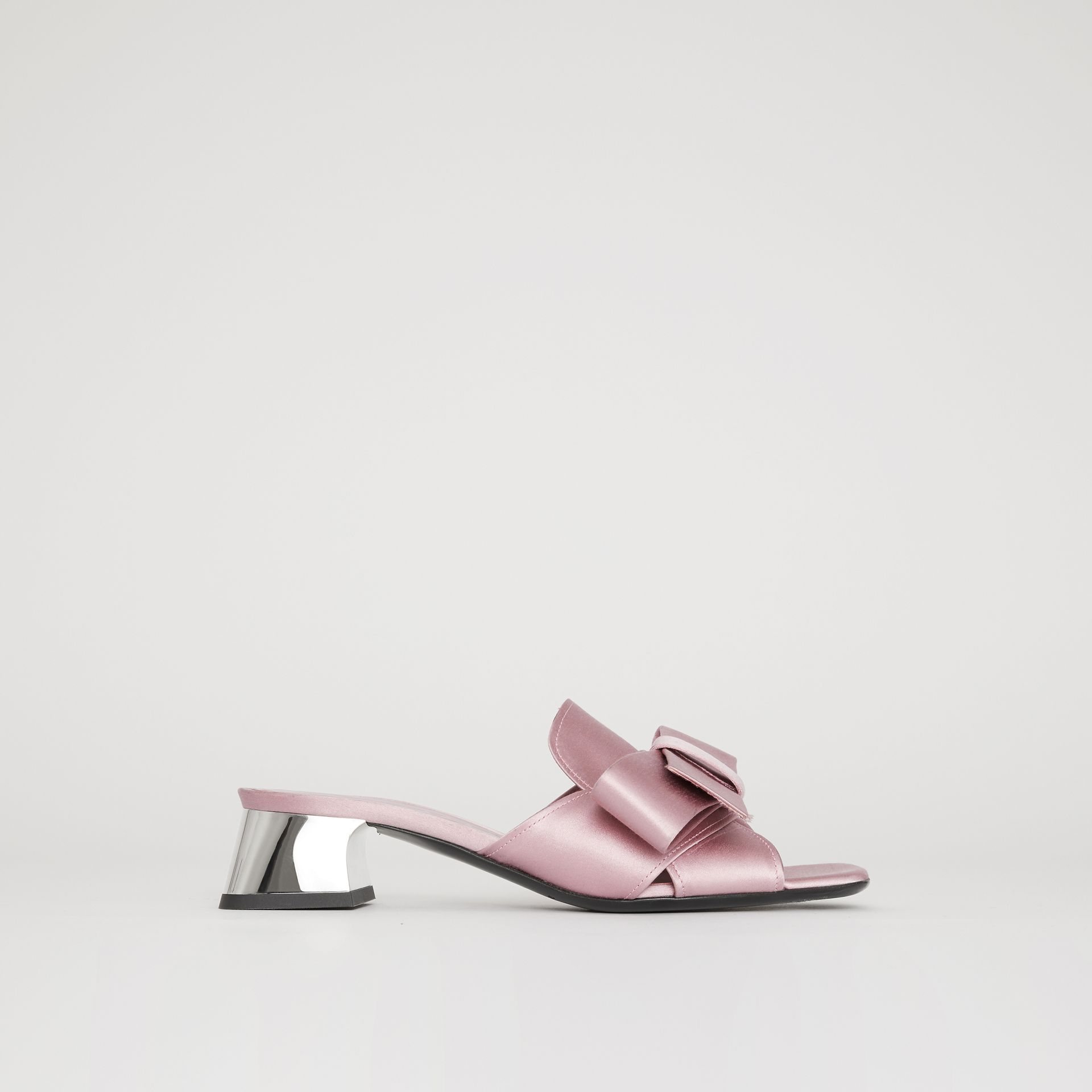 Bow Detail Satin Block-heel Mules in Light Pink Melange - Women | Burberry - gallery image 0