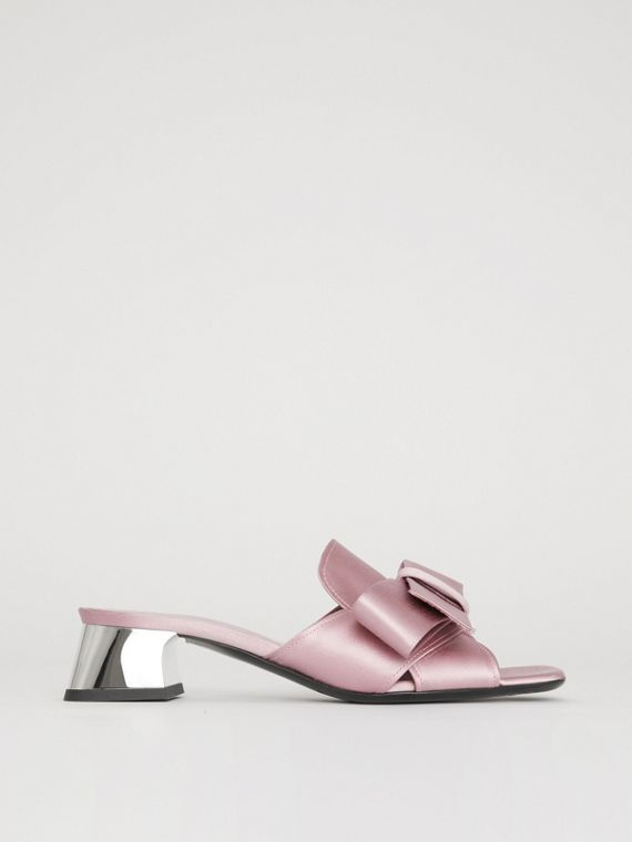 Bow Detail Satin Block-heel Mules in Light Pink Melange