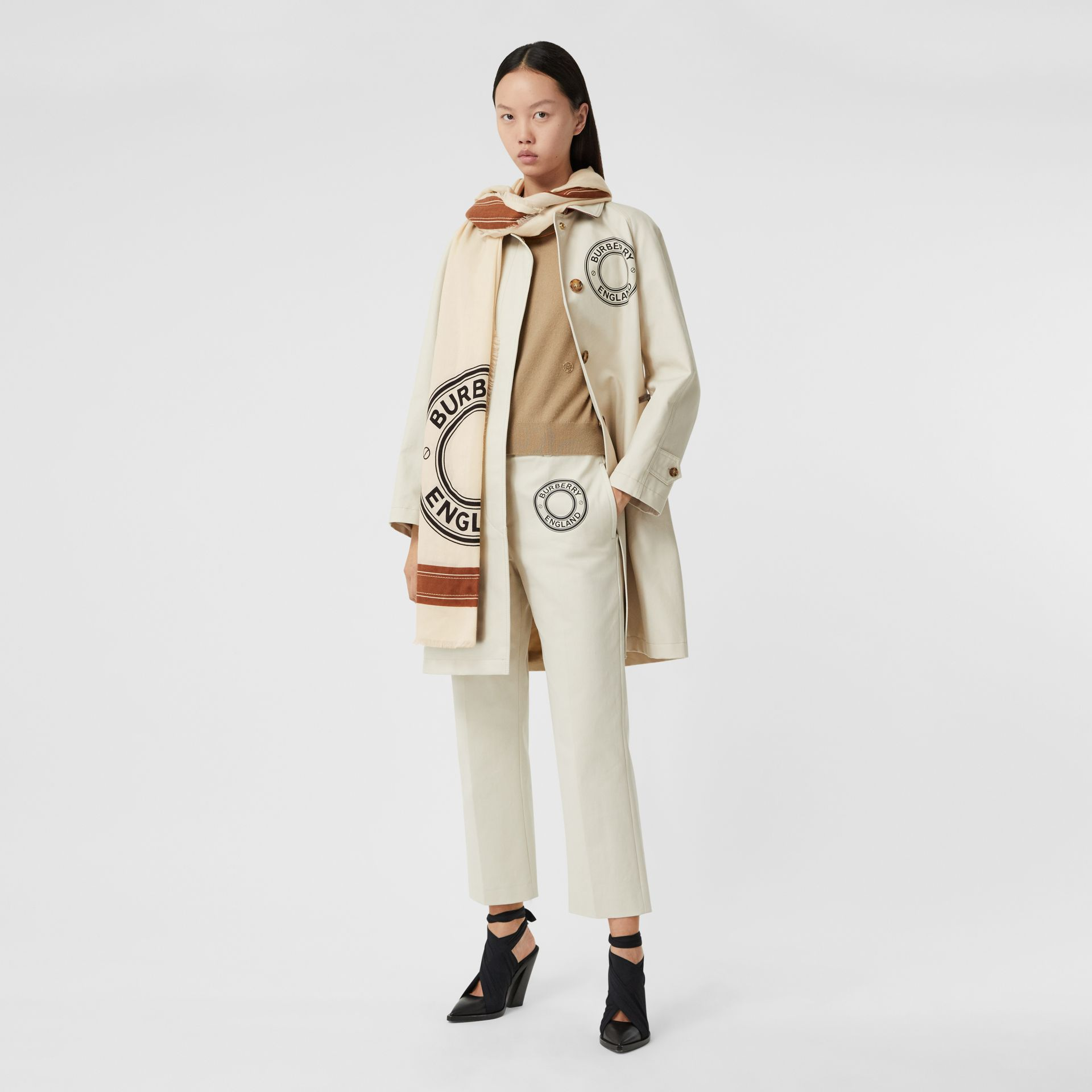 Logo Graphic Lightweight Cashmere Scarf in Natural White | Burberry Canada - gallery image 6