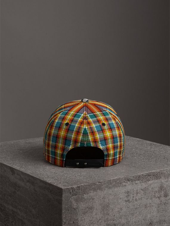 Patchwork Check Baseball Cap in Antique Yellow | Burberry Canada - cell image 3