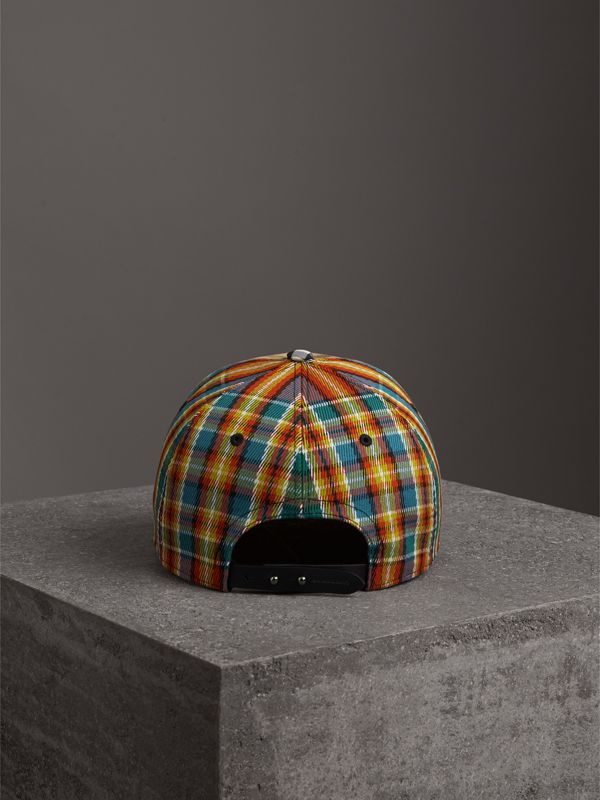 Patchwork Check Baseball Cap in Antique Yellow | Burberry Australia - cell image 3