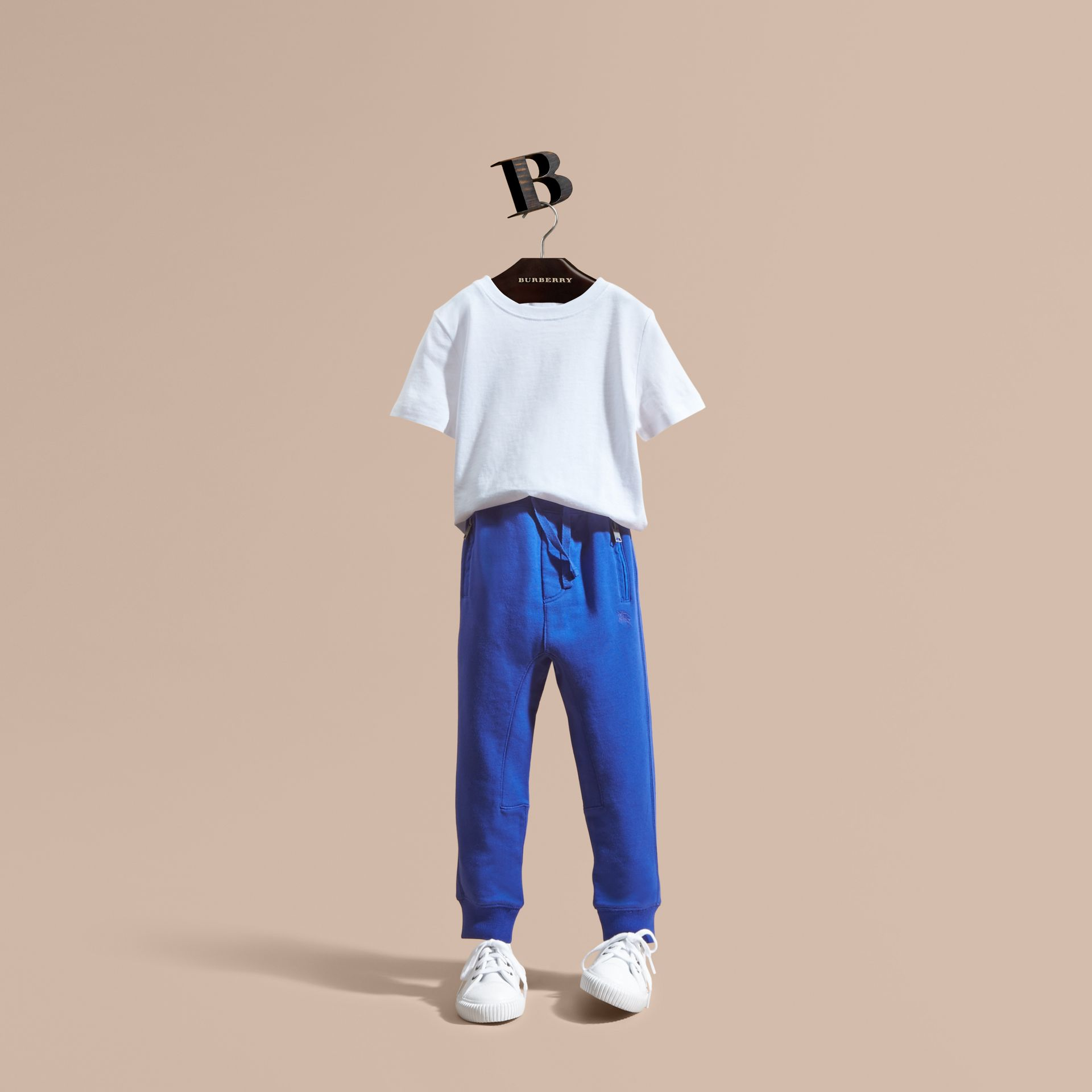 Drawcord Cotton Sweatpants Brilliant Blue - gallery image 1