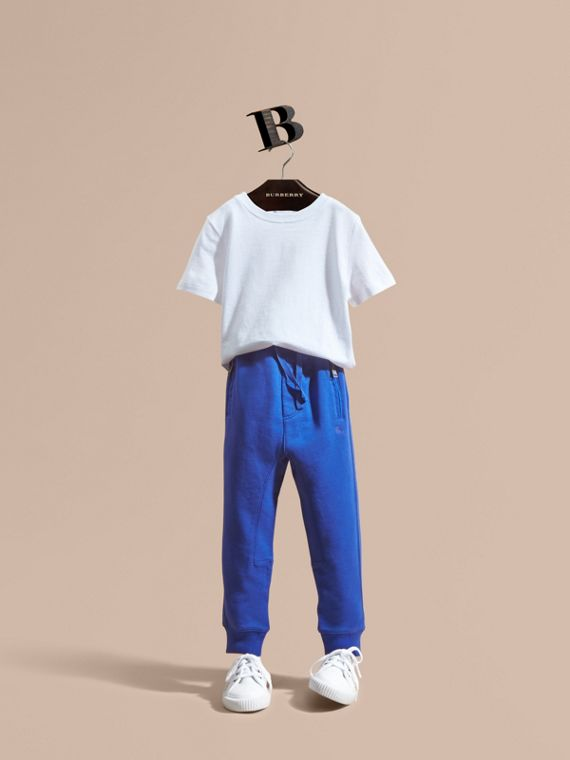 Drawcord Cotton Sweatpants in Brilliant Blue