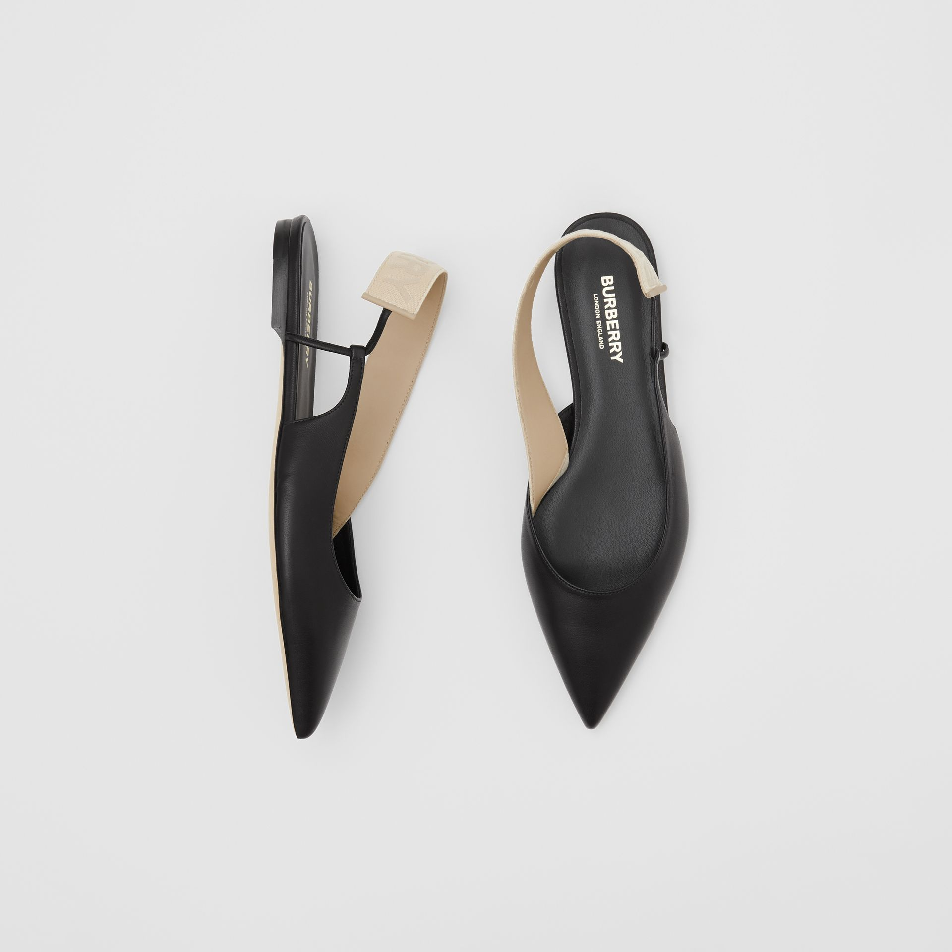Logo Detail Leather Slingback Flats in Black - Women | Burberry - gallery image 0