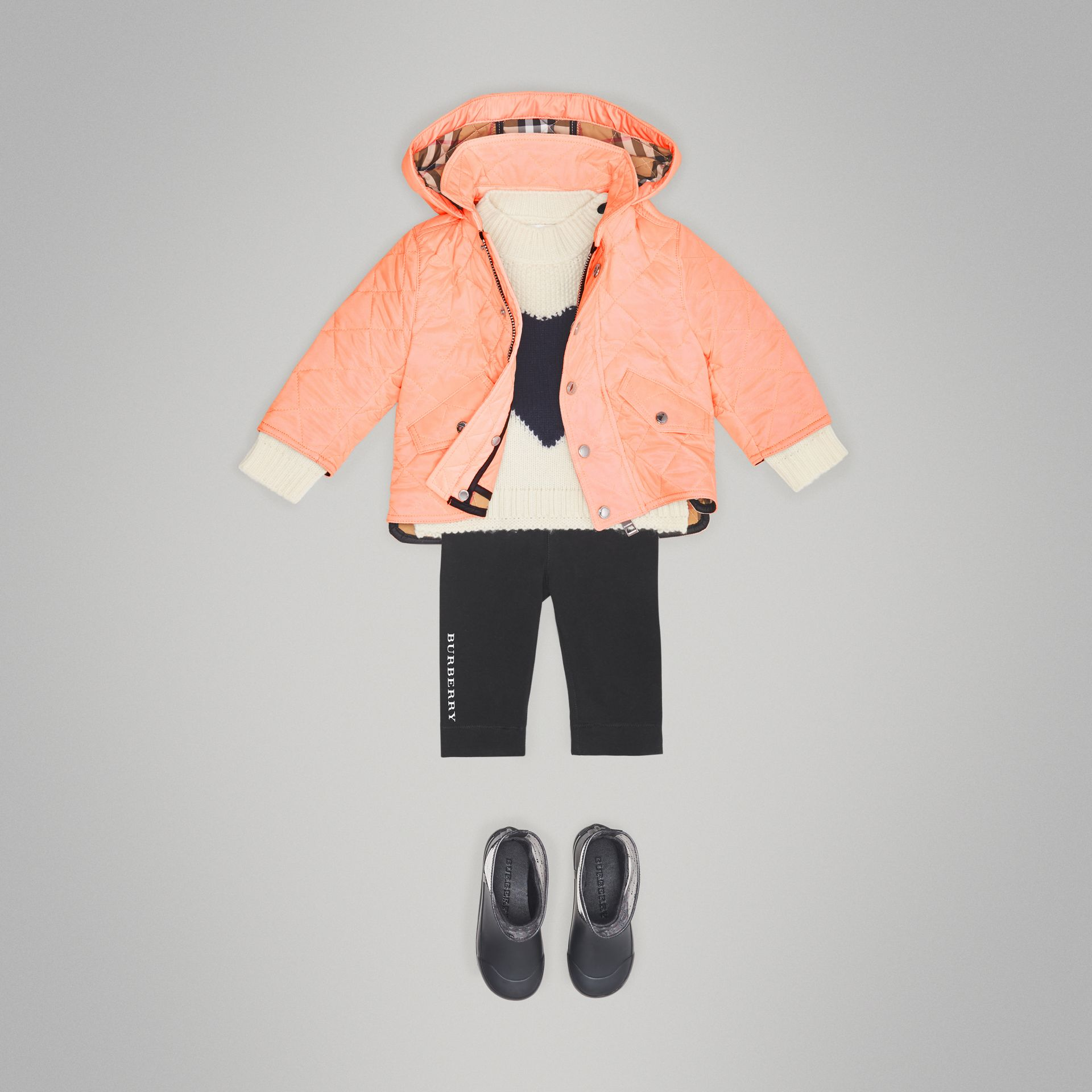 Diamond Quilted Hooded Jacket in Apricot Pink - Children | Burberry - gallery image 2