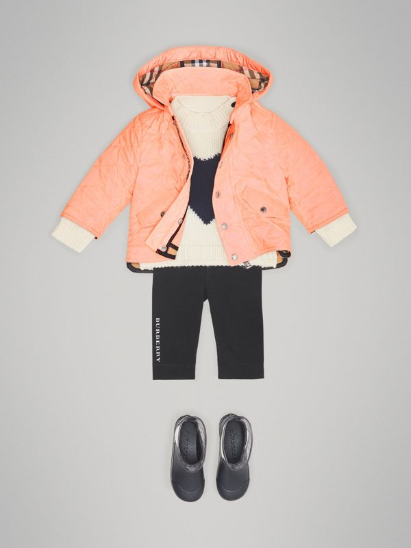 Diamond Quilted Hooded Jacket in Apricot Pink - Children | Burberry - cell image 2