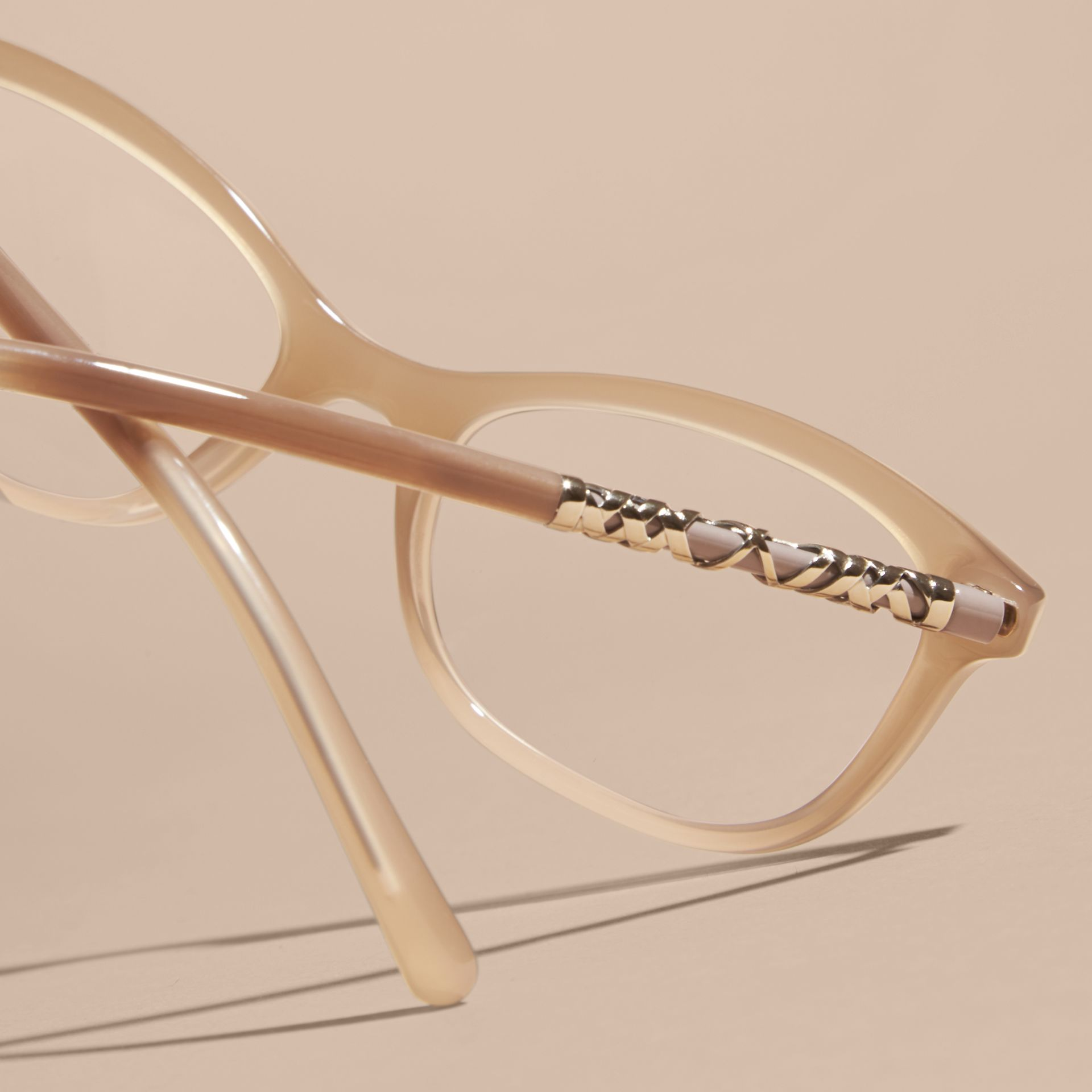 Chino grey Check Detail Oval Optical Frames Chino Grey - gallery image 5