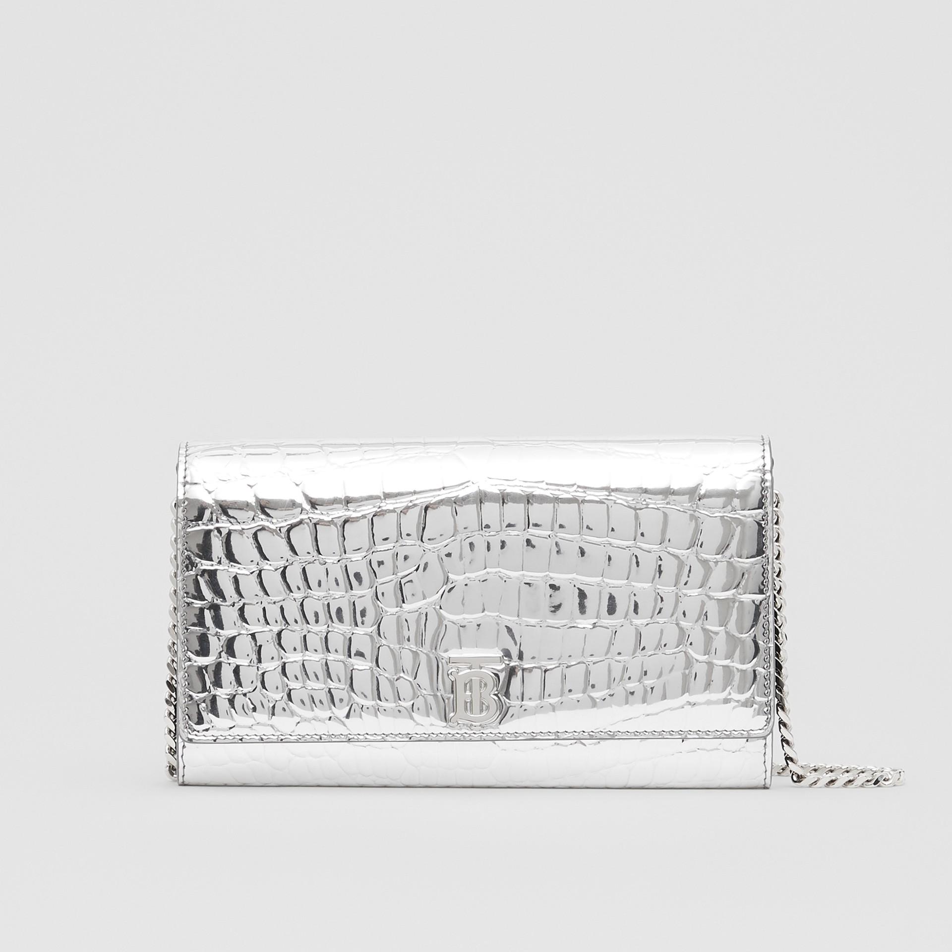 Portefeuille embossé métallisé avec sangle amovible (Argent) - Femme | Burberry - photo de la galerie 0