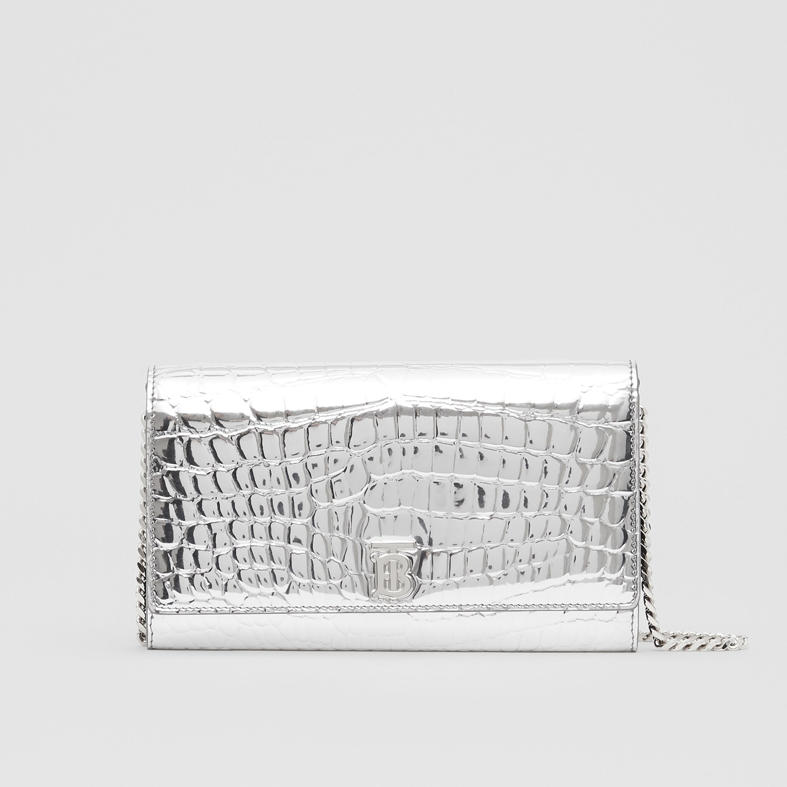 Metallic Embossed Wallet with Detachable Strap in Silver - Women | Burberry - 1