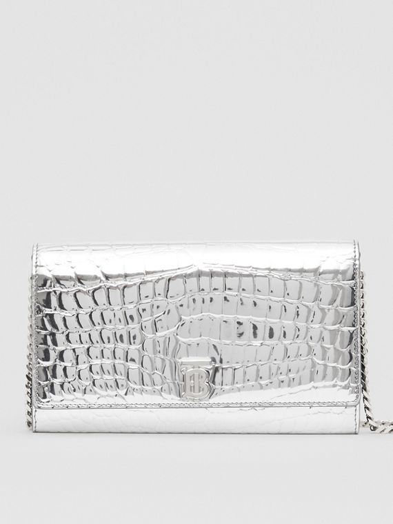 Metallic Embossed Wallet with Detachable Strap in Silver