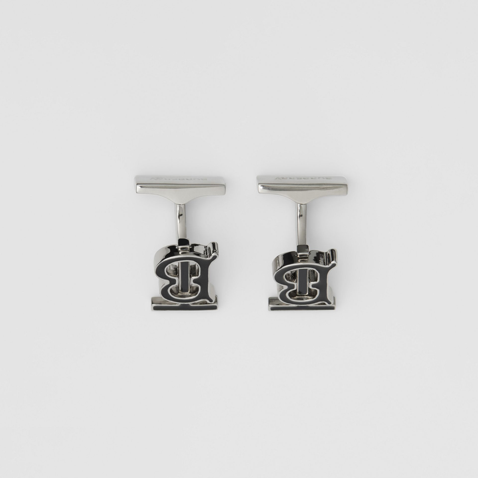 Monogram Motif Enamel and Palladium-plated Cufflinks in Palladium/black - Men | Burberry Singapore - gallery image 2