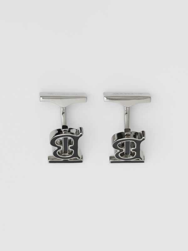 Monogram Motif Enamel and Palladium-plated Cufflinks in Palladium/black - Men | Burberry Singapore - cell image 2