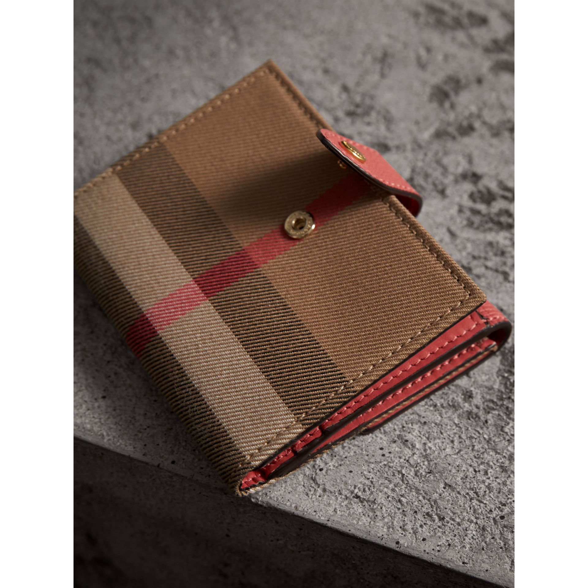 House Check and Leather Wallet in Cinnamon Red - Women | Burberry United States - gallery image 2
