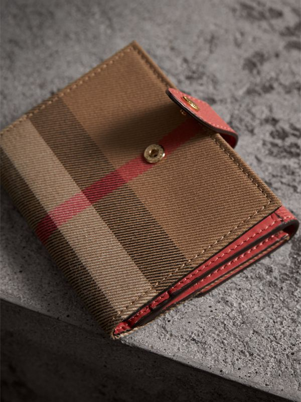 House Check and Leather Wallet in Cinnamon Red - Women | Burberry - cell image 2