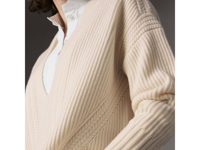Cut-out V-neck Wool Cashmere Sweater in Natural White - Women | Burberry - cell image 1
