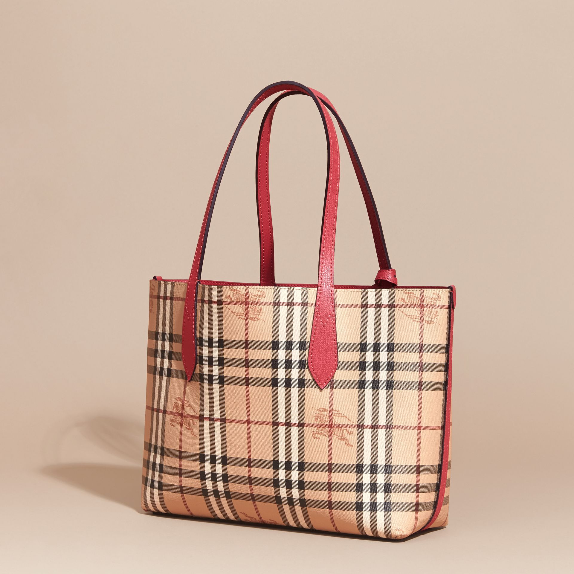 The Small Reversible Tote in Haymarket Check and Leather Coral Red - gallery image 5