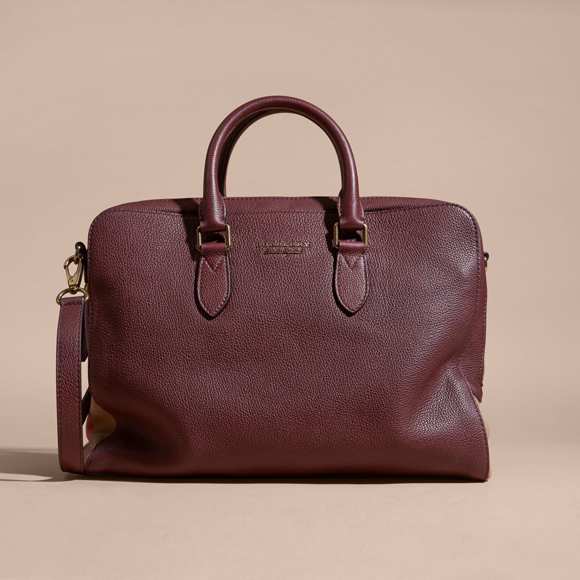 Leather and House Check Briefcase in Wine - gallery image 9