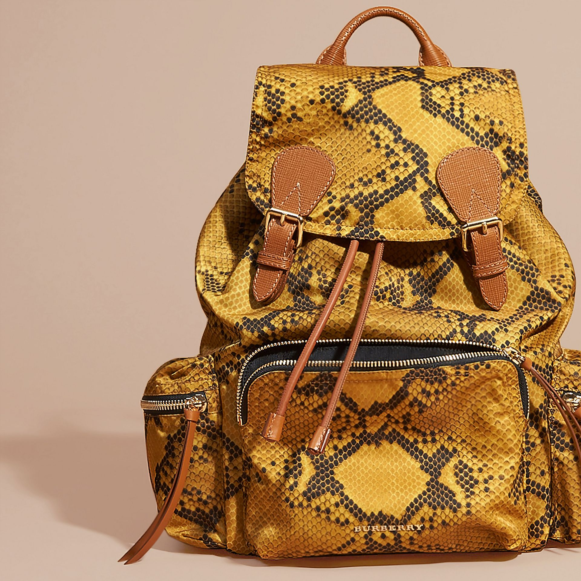 The Large Rucksack in Python Print Nylon and Leather Yellow - gallery image 6
