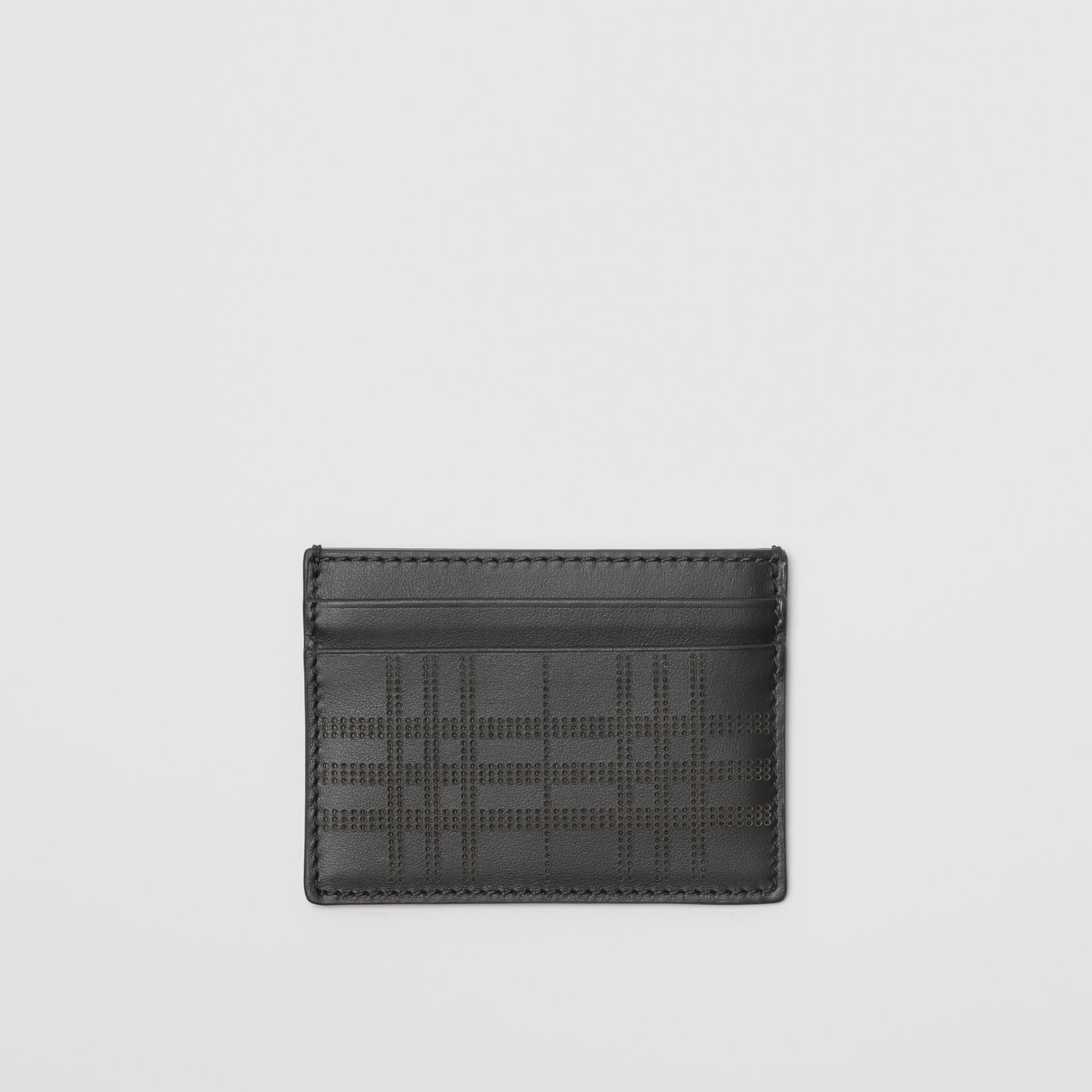 Perforated Check Leather Card Case in Black - Men | Burberry - gallery image 0