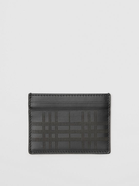 Perforated Check Leather Card Case in Black