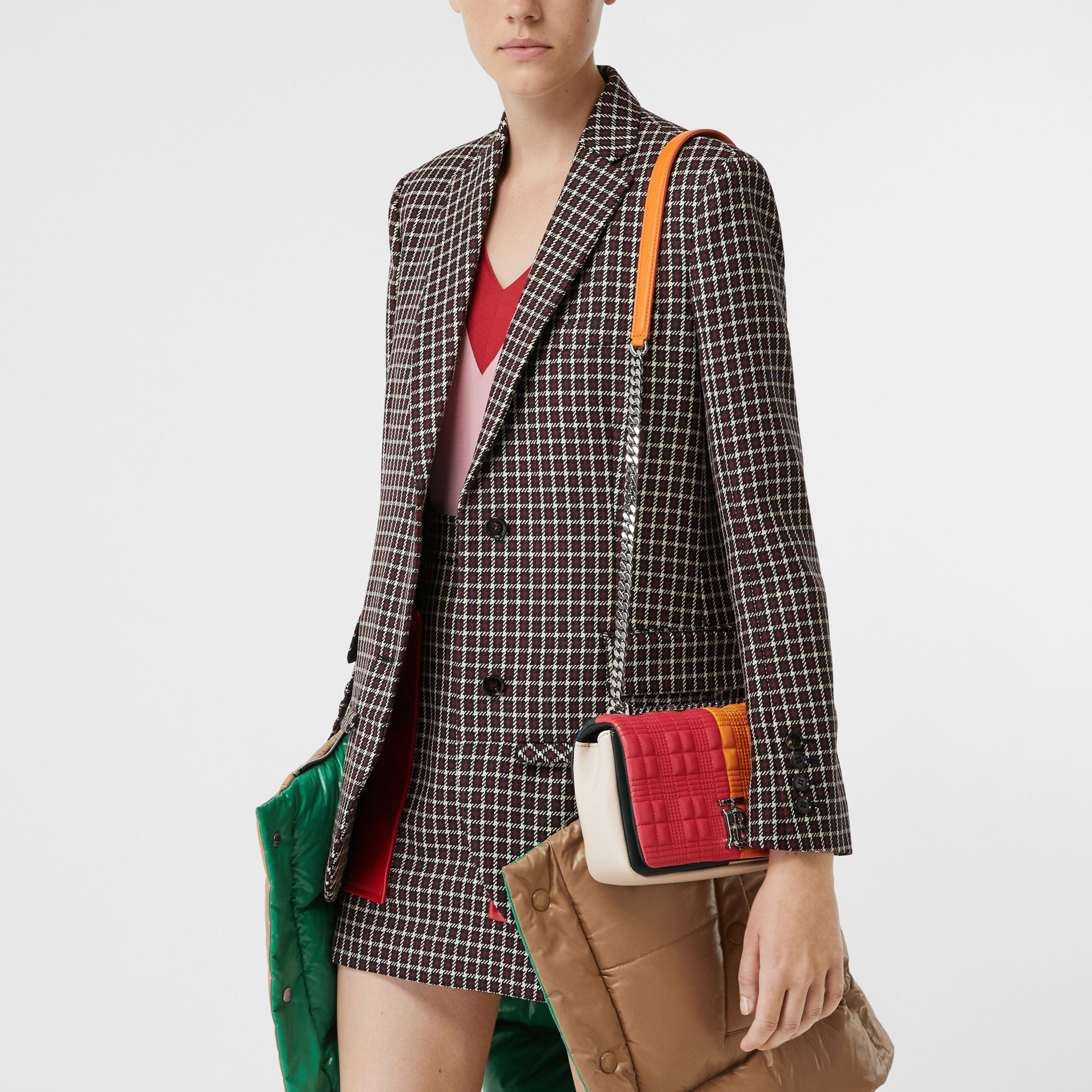 Small Quilted Colour Block Lambskin Lola Bag in Bright Red/orange - Women | Burberry - gallery image 5