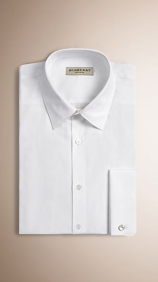 Modern Fit Double-cuff Cotton Poplin Shirt