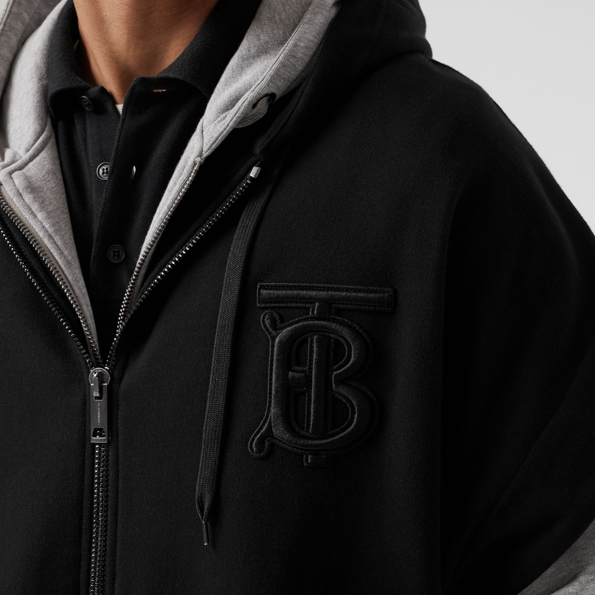 Monogram Motif Cotton Oversized Hooded Poncho in Black | Burberry United States - gallery image 7
