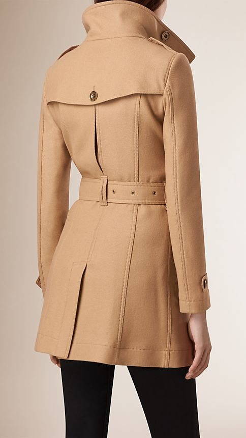 Camel Short Double Wool Twill Trench Coat - Image 3