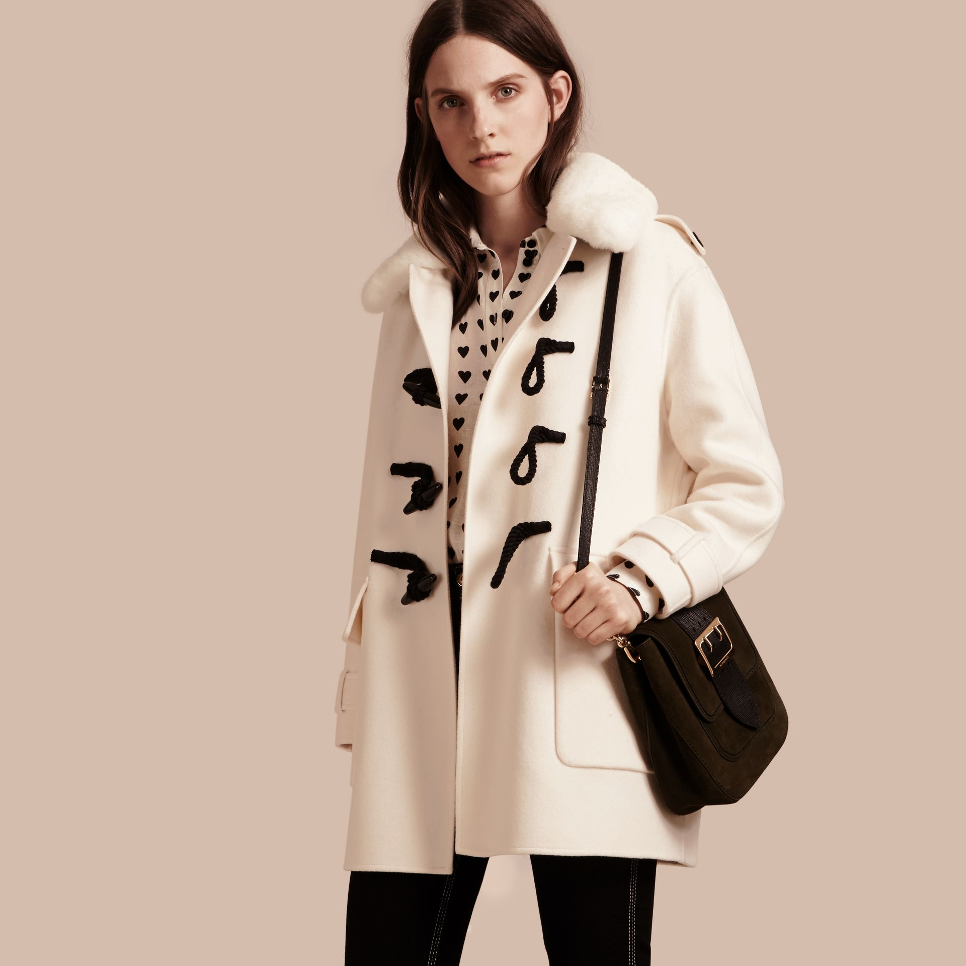 White Cashmere Duffle Coat with Detachable Fur Collar - gallery image 1