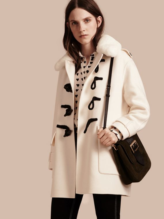 Cashmere Duffle Coat with Detachable Fur Collar