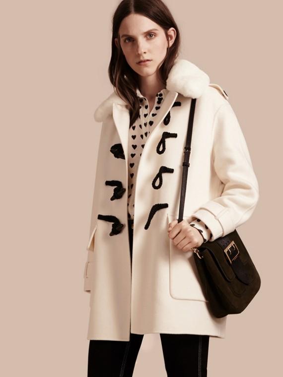 Duffle-coat en cachemire avec col amovible en fourrure