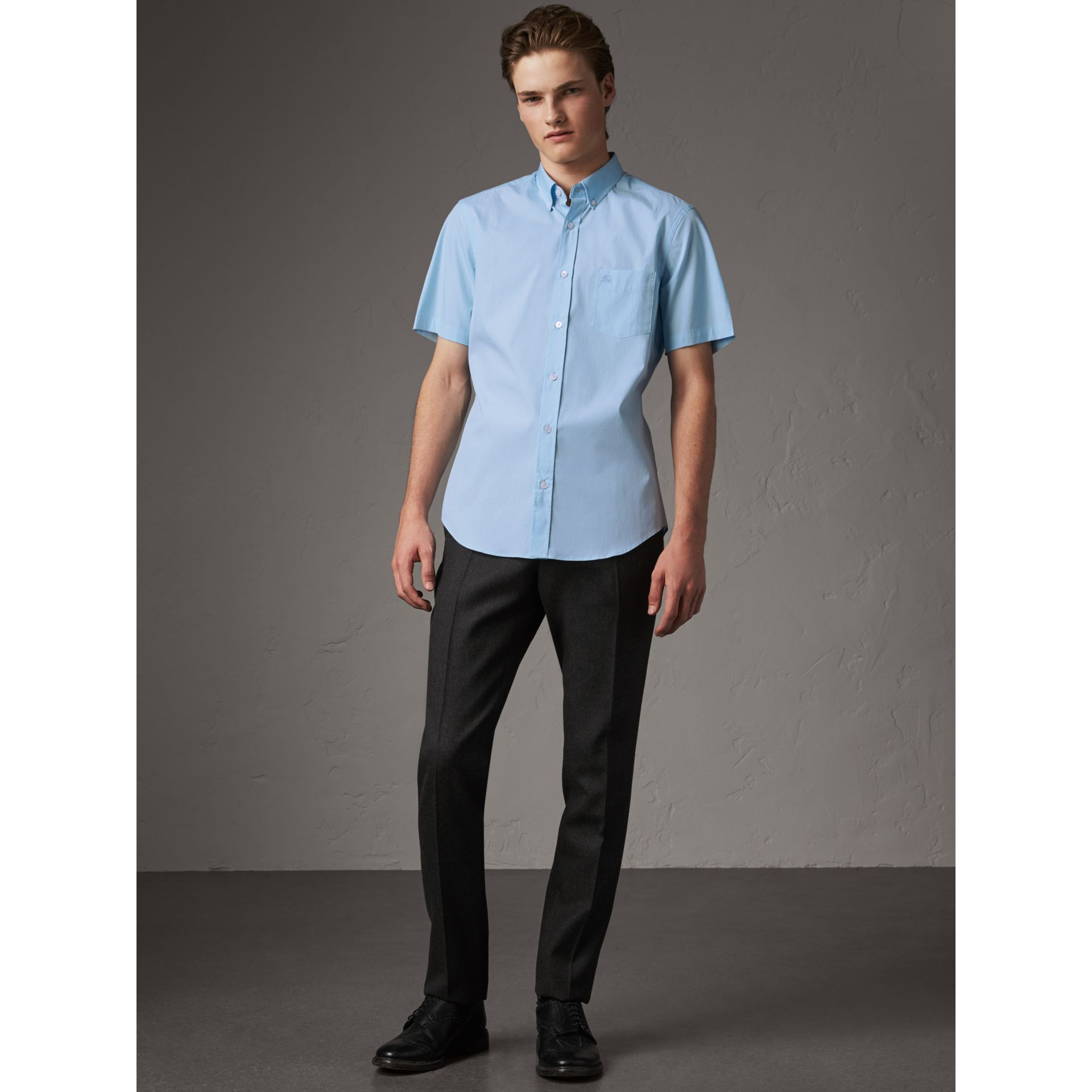 Short-sleeved Stretch Cotton Poplin Shirt in Pale Blue - Men | Burberry - gallery image 5