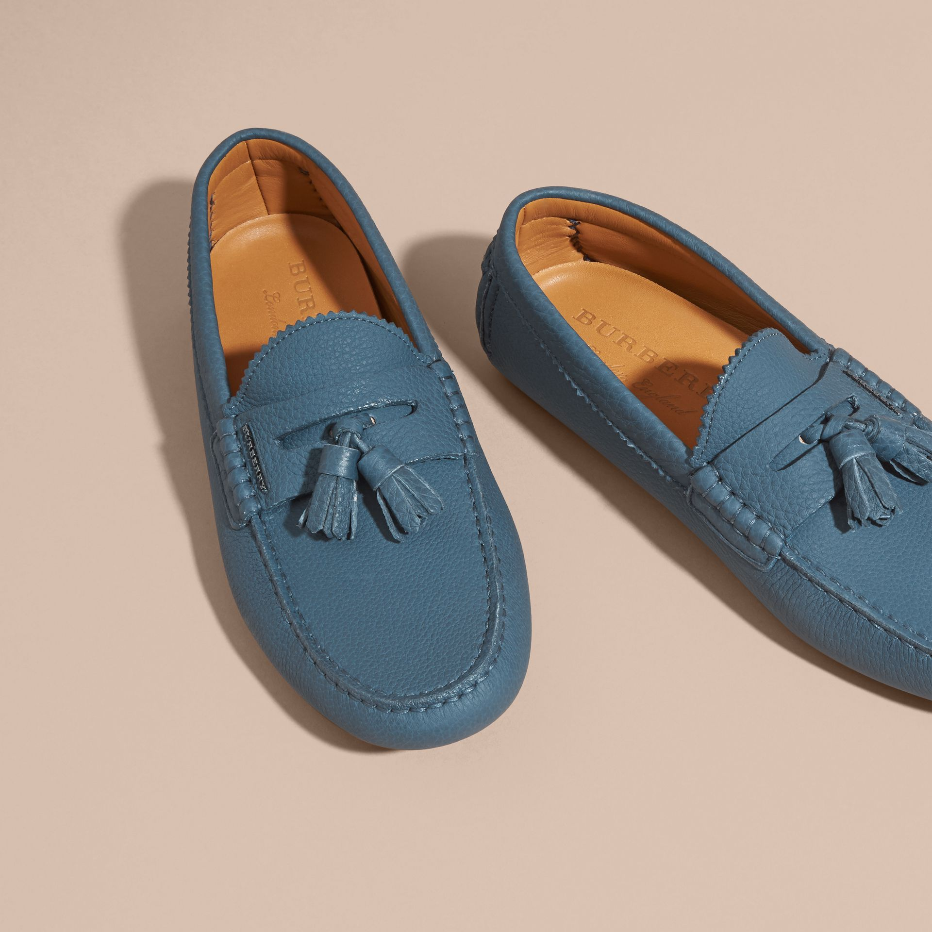 Tasselled Grainy Leather Loafers Dark Mineral Blue - gallery image 3