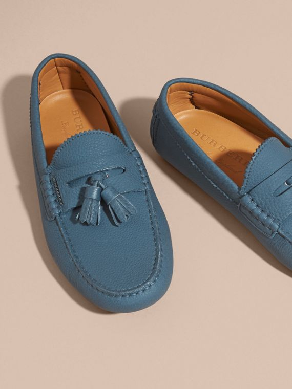 Tasselled Grainy Leather Loafers in Dark Mineral Blue - cell image 2