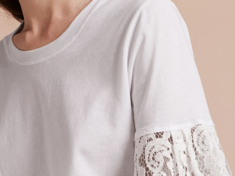 White Lace Trim Cotton T-shirt White - cell image 4