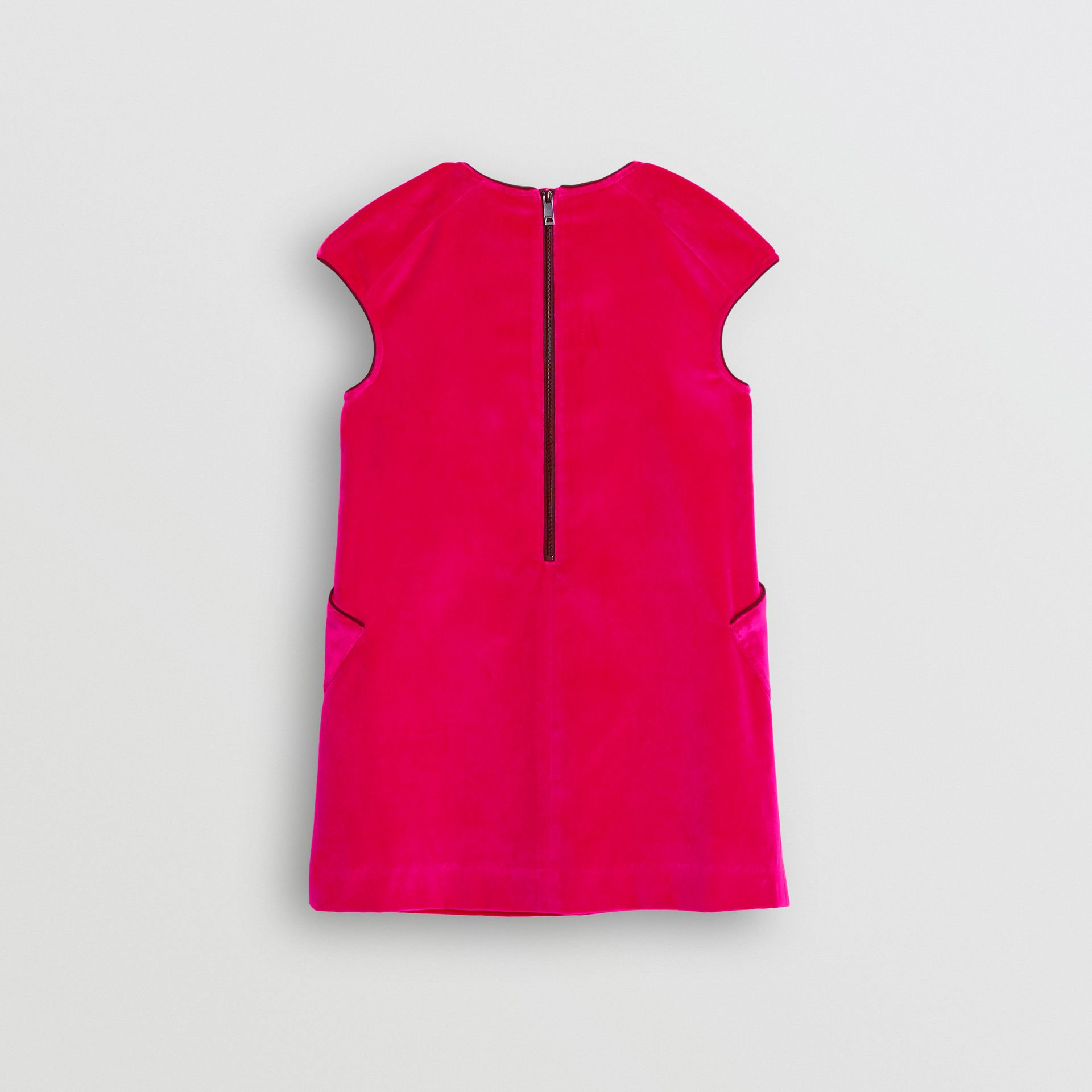 Piping Detail Velvet Shift Dress in Raspberry | Burberry Canada - gallery image 3