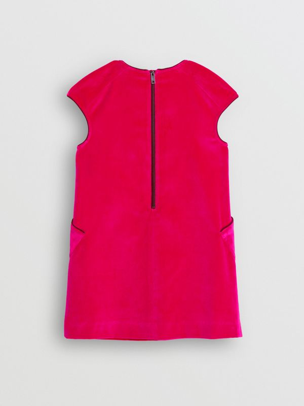 Piping Detail Velvet Shift Dress in Raspberry | Burberry Canada - cell image 3