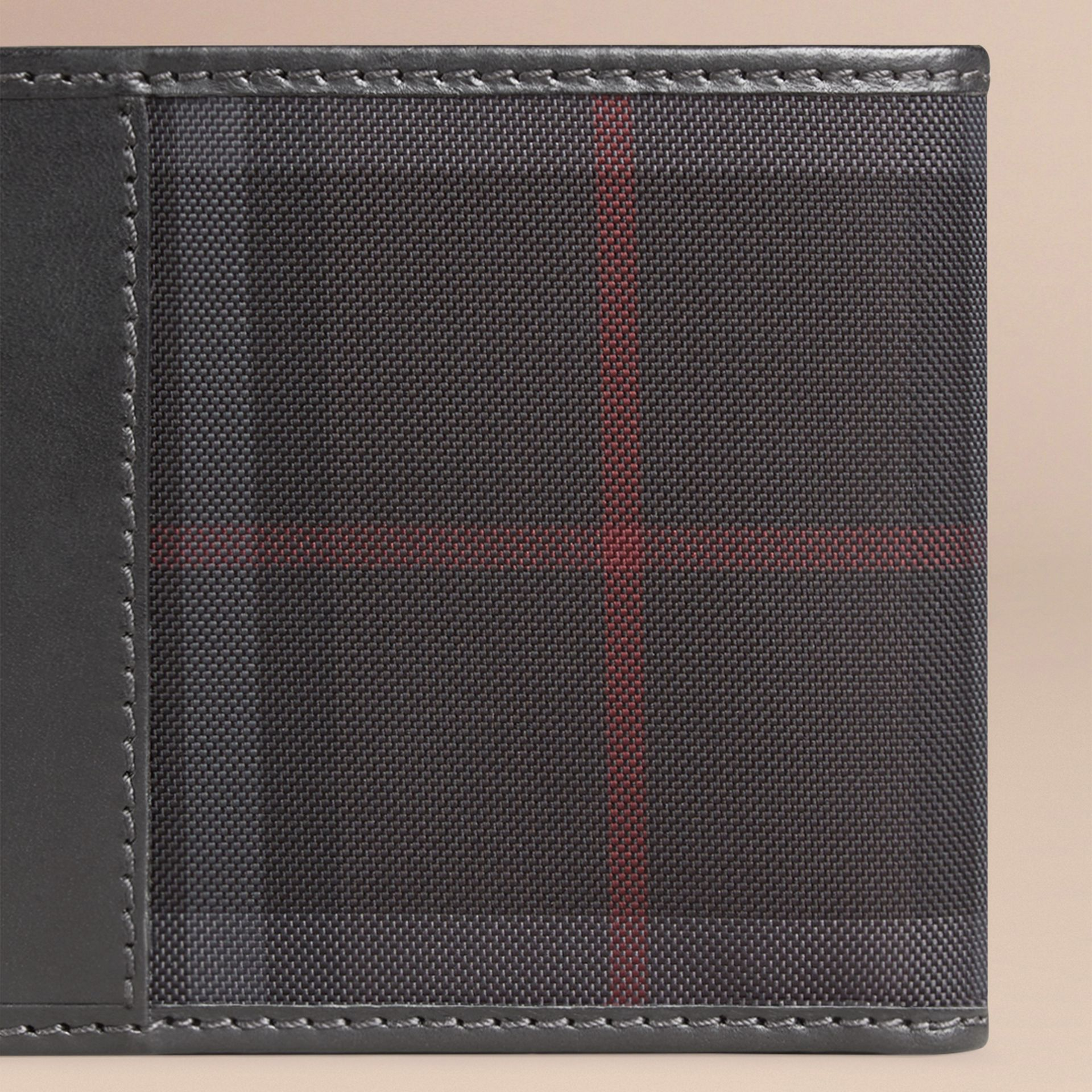 Horseferry Check International Bifold Coin Wallet in Charcoal/black - Men | Burberry Hong Kong - gallery image 2