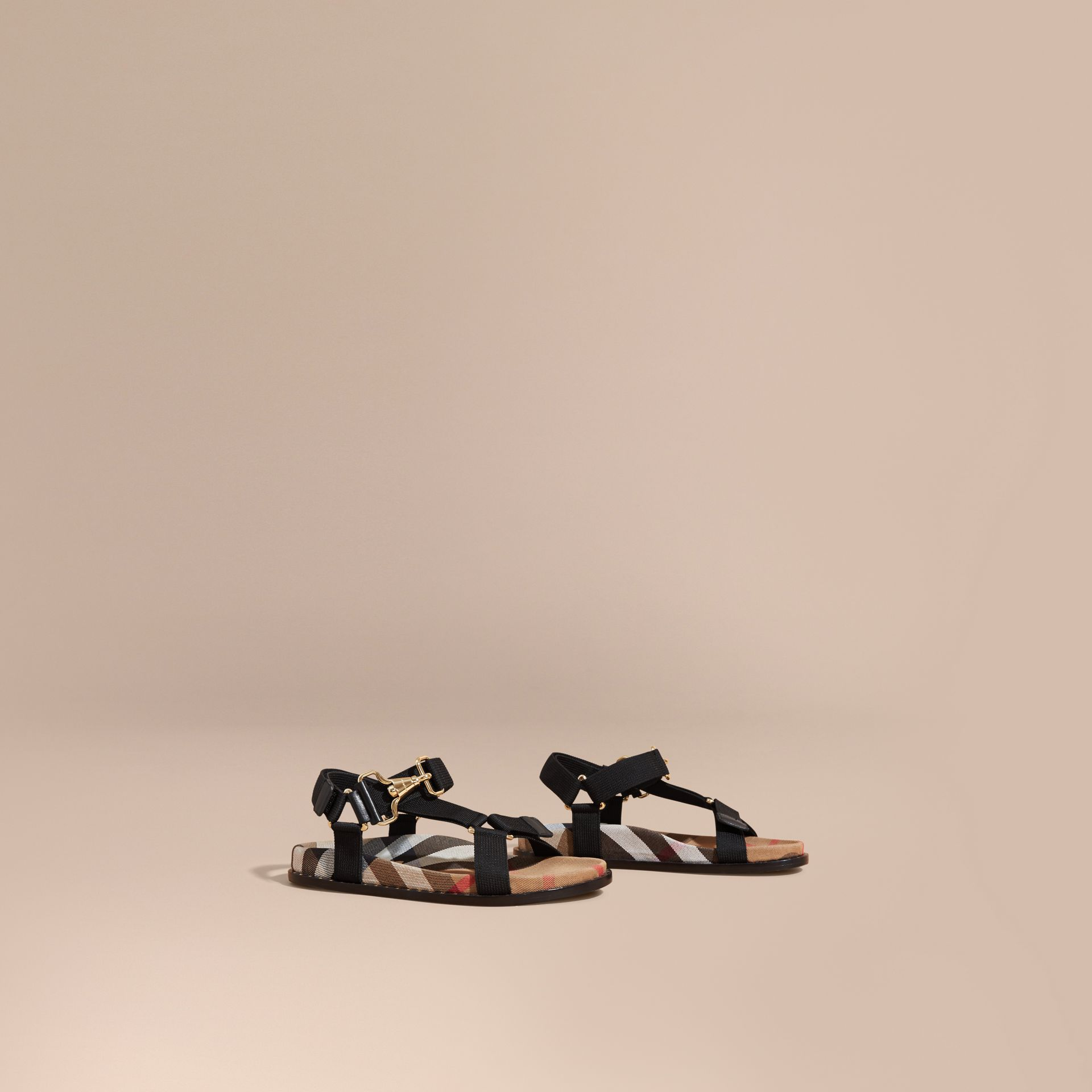 House Check Strappy Sandals with Hardware Detail in Black - Women | Burberry - gallery image 1