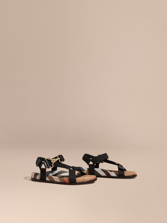 House Check Strappy Sandals with Hardware Detail in Black