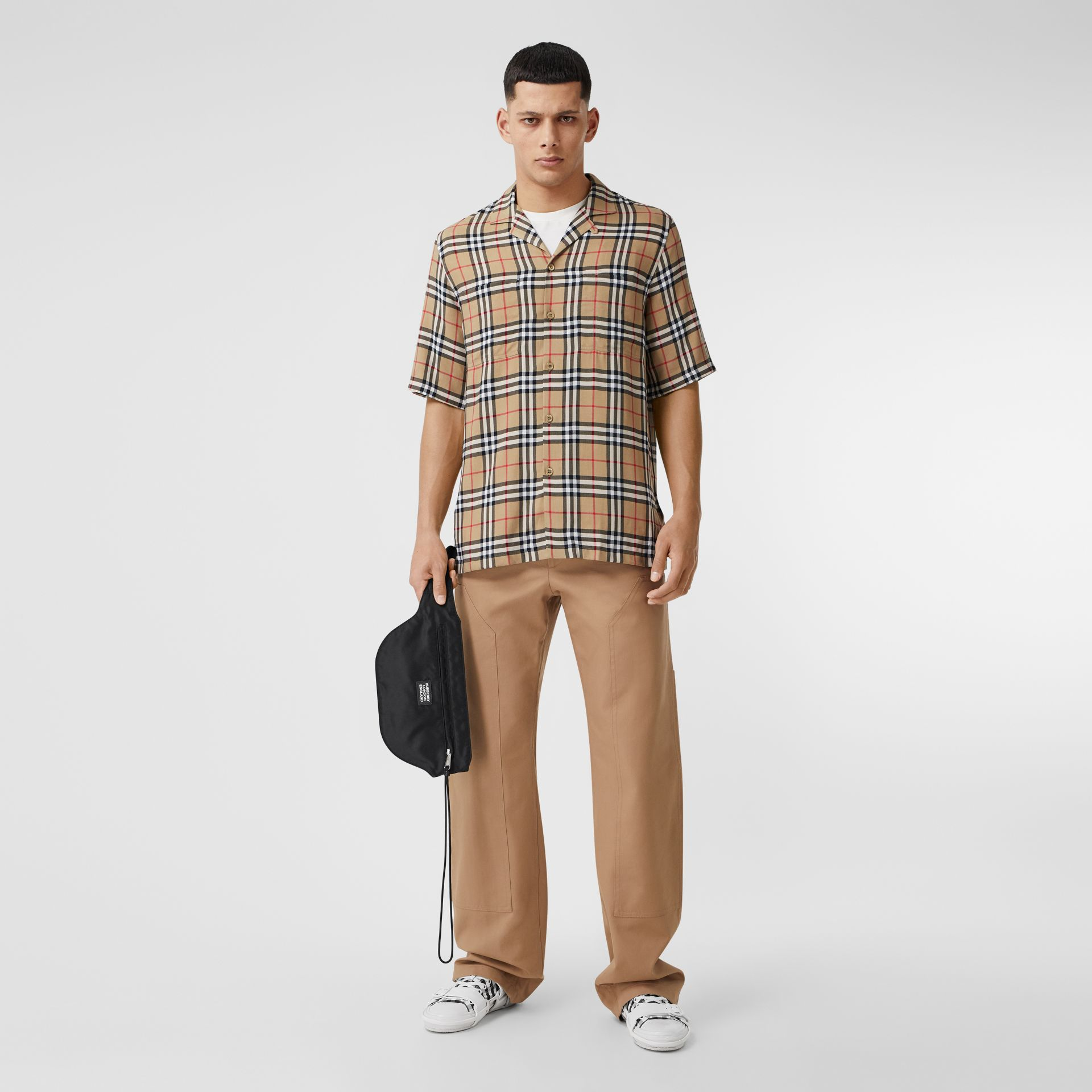 Short-sleeve Vintage Check Twill Shirt in Archive Beige - Men | Burberry - gallery image 5
