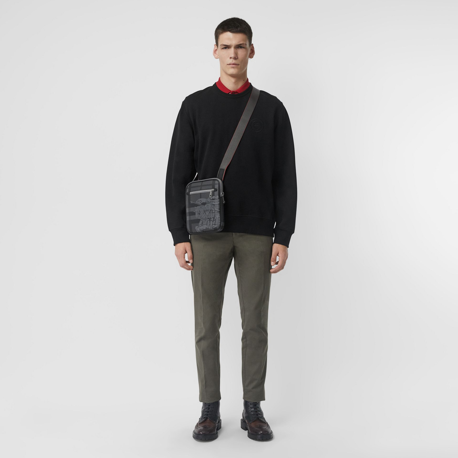 Slim EKD London Check Crossbody Bag in Charcoal/black - Men | Burberry Singapore - gallery image 2