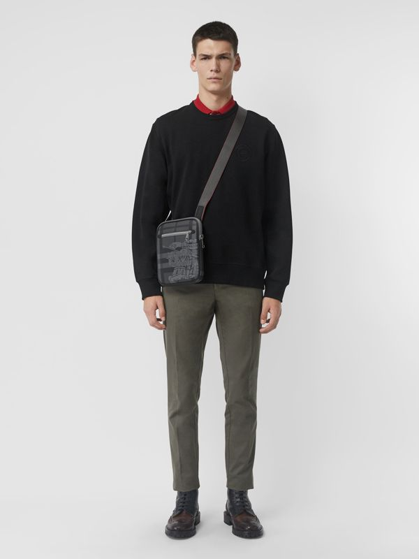 Slim EKD London Check Crossbody Bag in Charcoal/black - Men | Burberry Australia - cell image 2