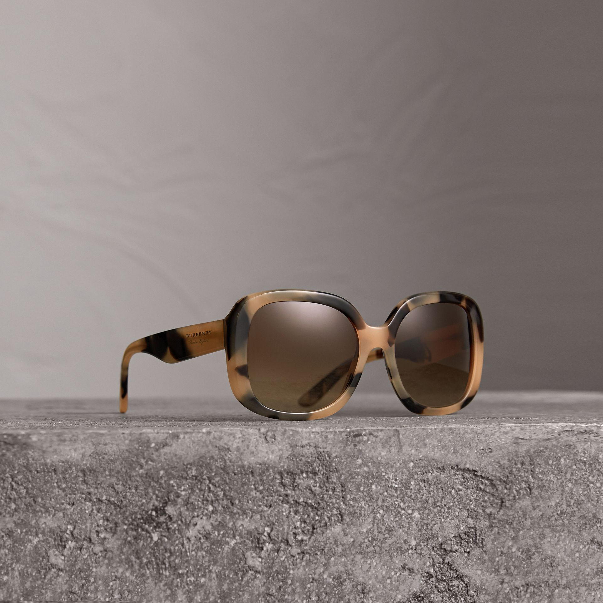 Square Frame Sunglasses in Honey - Women | Burberry - gallery image 0