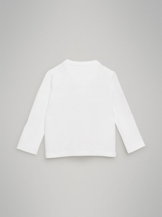 Archive Advert Print Cotton Top in White | Burberry - cell image 3