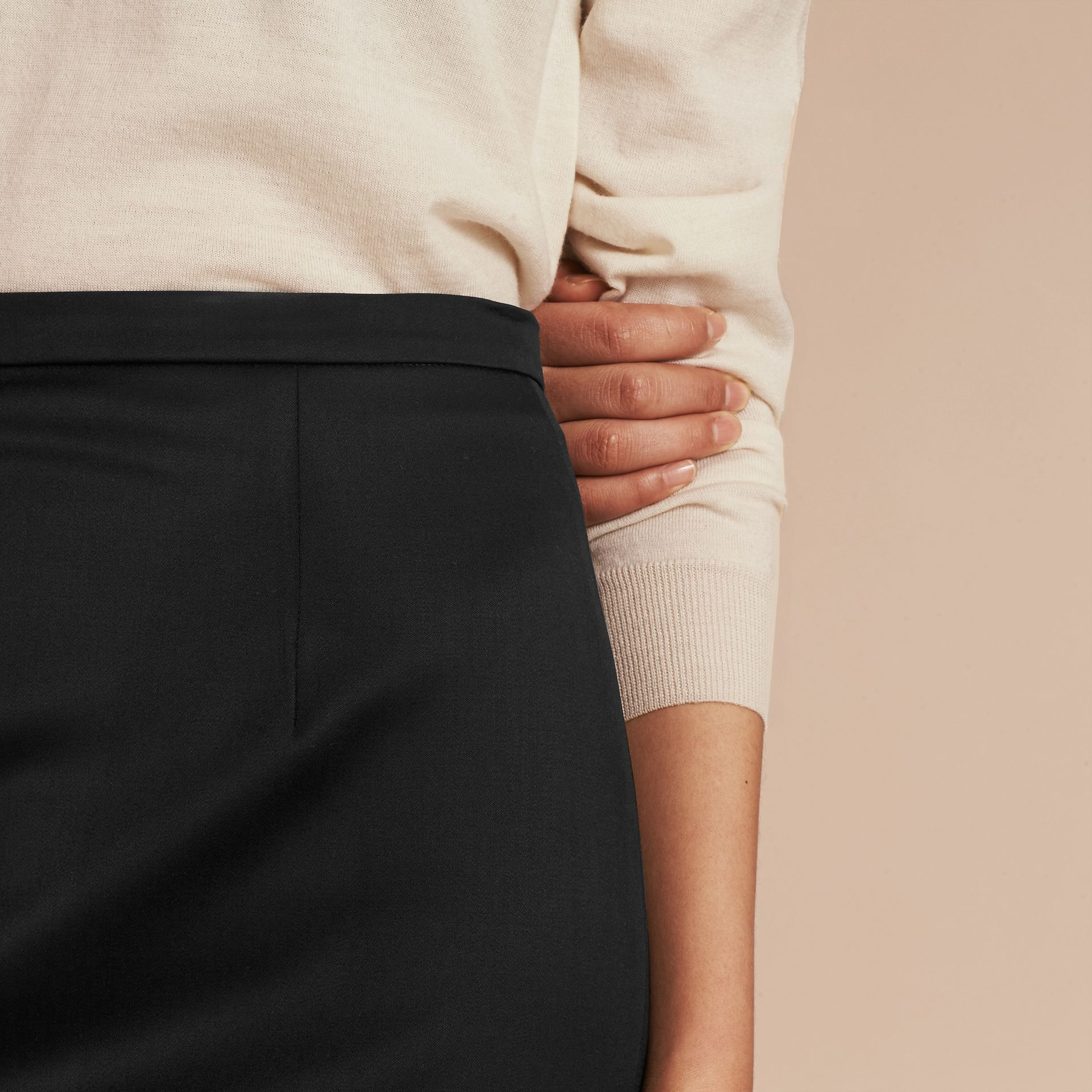 Stretch Virgin Wool Tailored Pencil Skirt - gallery image 5