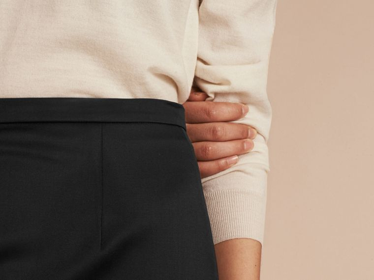 Stretch Virgin Wool Tailored Pencil Skirt - Women | Burberry - cell image 4