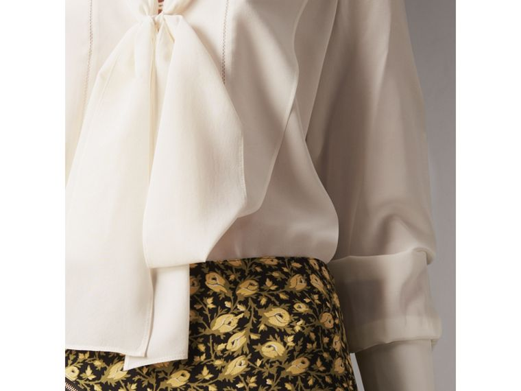 Tie-neck Bib Detail Silk Tunic in Natural White - Women | Burberry - cell image 1